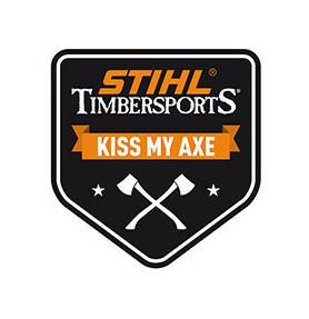 "Stihl Sticker ""Kiss my Axe"" Timbersports 7.8 x 8.5 cm"